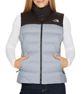 New Womens The North Face Nuptse 700 Fill Down Gray Black Puffer Vest Jacket M