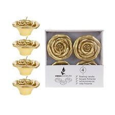 "Mega Candles - Unscented 3"" Floating Flower Candles - Gold, Set of 4"
