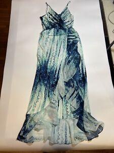 Parker Blue Faux-Wrap Ruffle Strap Maxi Dress Women's Size XS Watercolor Jersey