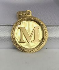 18k Solid Yellow Gold Letter Initial M Round Charm Pendant, 2.60 Grams