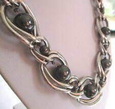collier réglable bijou rétro rhodié couleur argent perles résine hématite 1554