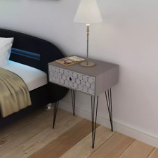 Rustic Bedside Side Cabinet Telephone Stand TV Table With 1 Drawer Grey Chic Leg