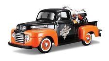 Maisto 1:24 1948 Ford F-1 PICKUP Harley Davidson 1958 DUO GLIDE BIKE CAR MODEL