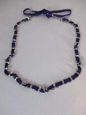 Lee Angel Purple Grosgrain Ribbon Double Silver Link Tie Necklace NIP $145