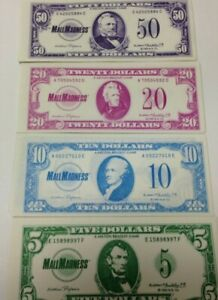 Mall Madness Paper Money 5 ea. of $5 10 20 $50 1989 Board Game REPLACEMENT Parts