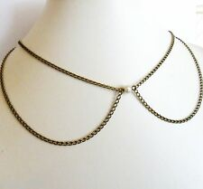 Peter Pan Collar Necklace, Pearl Choker, Vintage Style Antique Bronze Chain