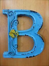 "BLUE CAST IRON WALL LETTER ""B"" 6.5"" TALL rustic vintage decor sign barn nursery"
