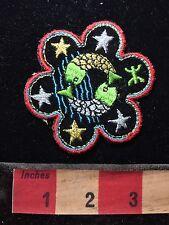 Vtg Psychedelic Look 2 FISH & Stars -Slightly Sticky On The Back Patch 76Z3