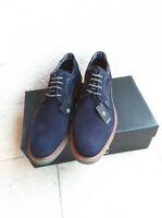 Bugatti Herren   Business Schuhe Schnürerschuhe Halbschuhe Gr.43 Blau Rauleder