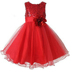 Kids Flower Girl  Party Princess Dress Sequins Wedding Birthday Tulle Dresses