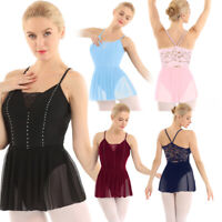 Women Adult Ballet Dress Lace Back Leotard Bodysuit Dancewear Tutu Skirt Costume
