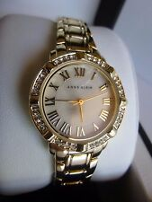 New Anne Klein AK/2602BMGB Gold Tone Bracelet Swarovski Crystals Women's Watch