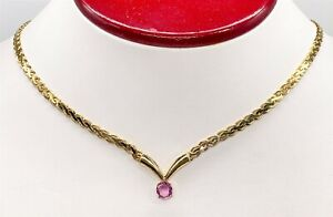 """RARE $8000 1.50ct Natural NO HEAT Pink Sapphire 14k Yellow Gold 18"""" Necklace 17g"""
