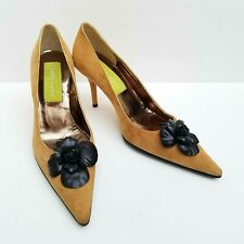 6a124633472bd Christian Lacroix Tan Suede Leather Black Floral Applique Heel Pump Shoe 37  / 7
