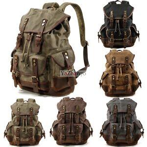 Waterpoof Oil Wax Canvas Backpack Student Bag Travel Laptop Men Rucksack Outdoor