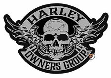 HOG WINGED SKULL VEST PATCH 10-3/8 INCH HARLEY DAVIDSON OWNERS GROUP XL