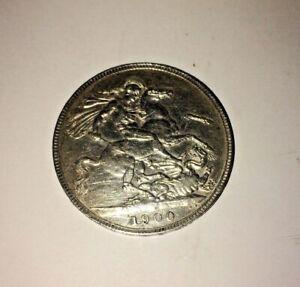 RARE 1900 CROWN LXIV SILVER COIN QUEEN VICTORIA JUBILEE HEAD 28.3 GRAMS DRAGON