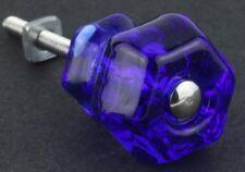 Vintage Style Depression Glass Cabinet Knobs Pull Victorian Cobalt Blue Set Of 6