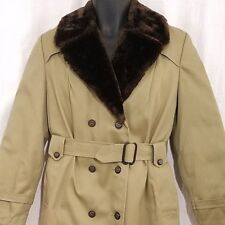 Eddie Bauer Womens Down Trench Coat Vintage 70s Faux Fur Collar Made In USA 14