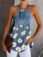Daisy Denim Tank Halter Top Sexy Sleeveless Camisole Flower Print Women Blouse