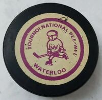 WATERLOO TOURNAMENT NATIONAL PEE-WEE HOCKEY PUCK VINTAGE MADE IN CANADA