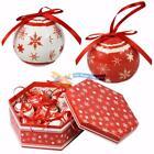 Conjunto de 7 tradicional Papá Noel Navidad Rojo Blanco Bolas Decoración Árbol
