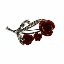 Red rose brooch with diamante leaf detailing