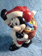 Nos Ceramic Standing Santa Mickey With Toy Bag Figurine