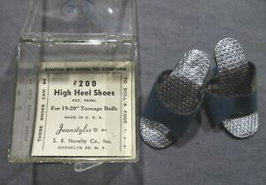"""Vintage Doll Accessories - Blue High Heel Shoes for 18""""-20"""" Dolls w/Original Box"""