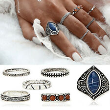 6pcs/Set Vintage Midi Ring Boho Beach Tibetan Silver Rings Women Jewelry Gift hs