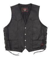 Vintage INTERSTATE Leather Vest L Large Mens Vtg Biker Leather MOTORCYCLE Vest