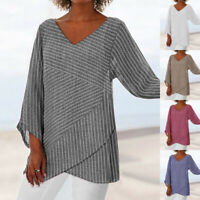 Womens Linen Striped V Neck Blouses Loose Baggy Tops Tunic T Shirts Plus Size