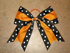 """New """"Double Dots Black & Orange"""" Cheer Bow Pony Tail Ribbon Hair Cheerleading"""