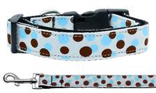 Mirage Confetti Dots Baby Blue Nylon Dog Collars and Leash Combo