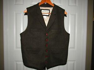 Orvis Green Herringbone Wool Nylon Six Button Vest size L 42 44 Mens