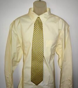 Roundtree Yorke Dress Shirt Solid Yellow Size 19 - 36 BIG NWT