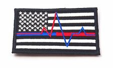 USA FLAG THIN BLUE LINE RED LINE PARAMEDIC EMT EMS MORALE SEW ON PATCH