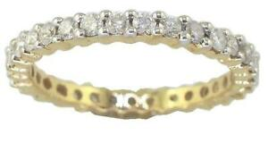 SI1 G 1.00 Carat Round Cut Diamond Eternity Stackable Ring Band 14K Yellow Gold