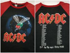 Vintage Mens L 1985 80s AC/DC Fly On The Wall Tour Concert Red Raglan T-Shirt