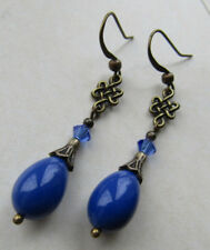 Blue Drop Dangle Earrings Vintage Style with Swarovski Elements cornflower