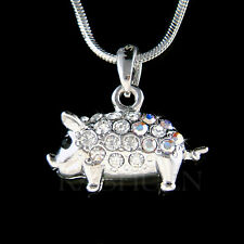 w Swarovski crystal 3D Double sided Cute Pig Piggy Piglet Charm Necklace Jewelry