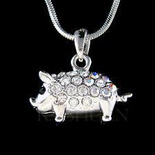 w Swarovski crystal 3D Double sided Cute Pig Piggy Piglet Charm Necklace Jewelry