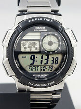 Casio AE-1000WD-1AV Steel Band World Time Watch 5 Alarms 10 Year Battery New