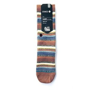 Stance Boys Red Crew Knit Striped Riot Boys Ankle Biters Casual Socks L 2-5.5 SJ