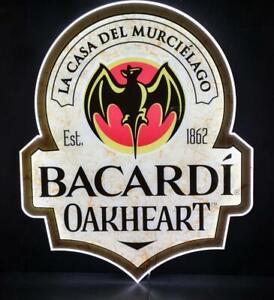 Bacardi Oakheart Rum Leuchtreklame, Bar, Deko, Leuchte, Party,Barlampe, ca 50x42