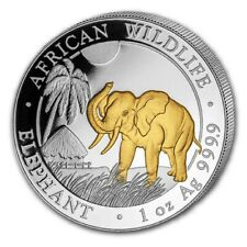 2017 SOMALIA ELEPHANT GILDED IN 24K GOLD 1 Oz .9999 Silver African Wildlife Coin