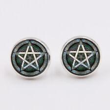 Ohrschmuck Pentagramm Ohrring Cabochon Ohrstecker Silber Wicca Hexen Gothic