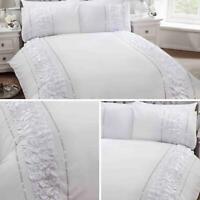 White Duvet Covers Diamante Faux Silk Ruffle Sparkle Quilt Cover Bedding Sets