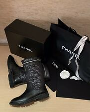CHANEL Women Combat Boots Black Leather Biker Booties Round Toe Size EU38 US7