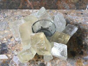 Optical Calcite Cubes Tea Light Candle Holder, Reiki Healing Crystal, Handmade